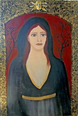 The Descent of Persephone Mixed media art painting fantasy surreal on wood