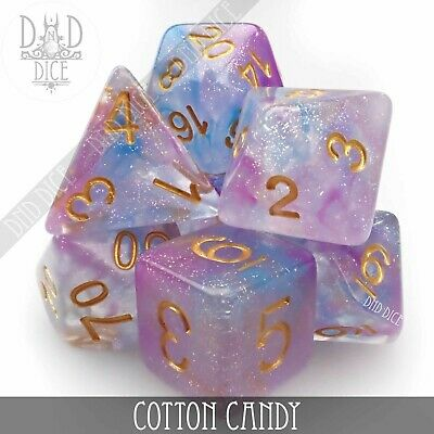 Cotton Candy Glitter Polyhedral Dice Set | D&D | Role Playing Dice | DND DICE