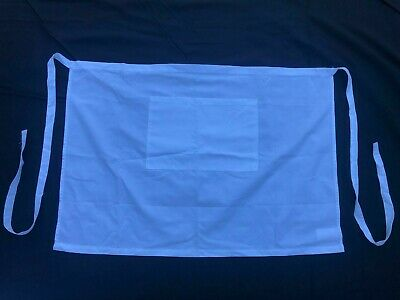 """SET OF 10 GOOD CONDITION EX-RENTAL WHITE HALF APRONS WITH POCKET, 34""""x 23"""""""