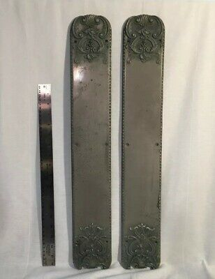 """Large 24"""" Salvaged Antique Brass Door Push Plates - Pair Noveau Silver Plated"""
