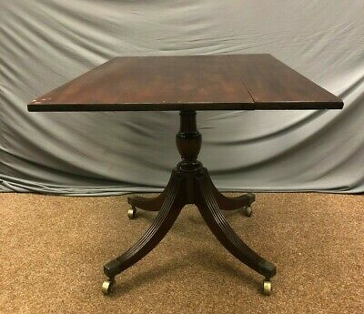 Antique Victorian Tilt Top Table mahogany table desk game table brass castors