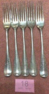 Vintage Unusual 20cm Silver Plated Dinner Forks X 5