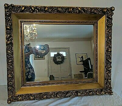 Gorgeous Antique Classic Gold Large Wood & Plaster Mirror in Frame
