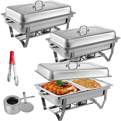 3 Packs Chafing Dish with 1/2 Inserts 9L Chafer Buffet Catering With Clip Silver