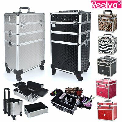 Aluminum Makeup Technician Case Trolley Beauty Case Cosmetic Box with 4 Wheels