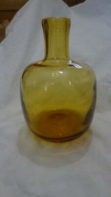 Vintage Blenko Art Glass Hand Blown Candle Holder Vase Bottle Mid Century Mod