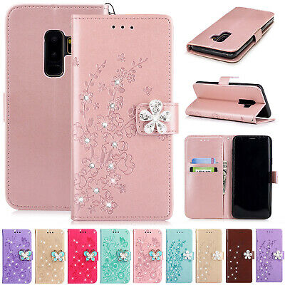 For Samsung A50 A30 A60 A20 Case Bling Diamond Magnet Wallet Leather Flip Cover