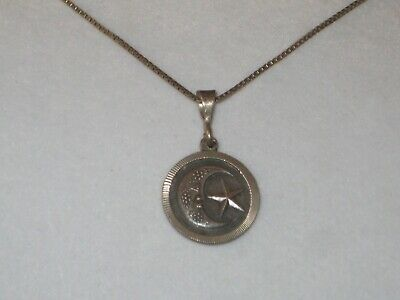 """Vintage 925 Mexico MO-68 Moon Star Pendant Sterling 24"""" Box Chain"""