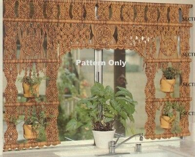 Vintage Macrame Garden Curtain & Hanging Plant Holder-Pattern Only In Pdf Format