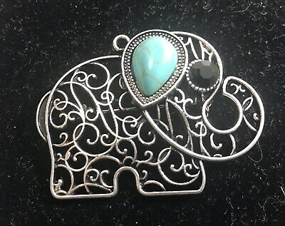 Filigree Elephant Pendant Charm or Brooch Pin Turquoise Silver Tone
