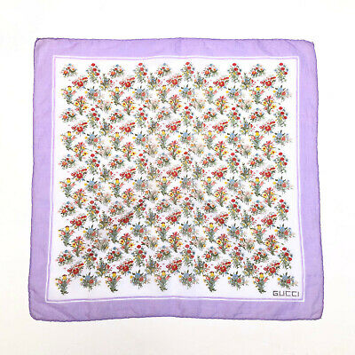GUCCI!!! Vintage 1970s 'Gucci' floral print square scarf with purple border