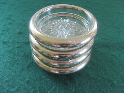 Vtg 70'S Leonard Silverplate Crystal Glass Coasters Signed / Italy