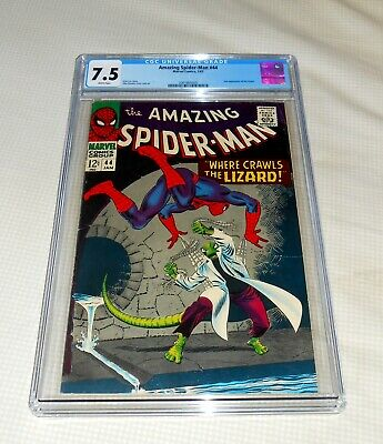 """Amazing Spider-Man # 44 1967 CGC 7.5 White Pages ! 3"""" Crack in case"""