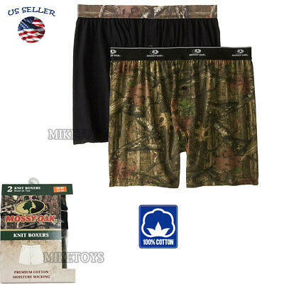2 Pack Men's Cotton Mossy Oak Underwear Boxer Briefs with Comfort Flex Waistband