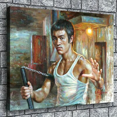Pink toned Bruce Lee HD Picture Canvas Print Painting Home decor Wall art Poster