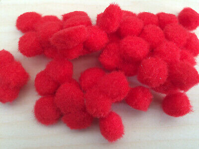 50 x 13mm Pom Poms ~  Choose your colour  Red, Blue or White