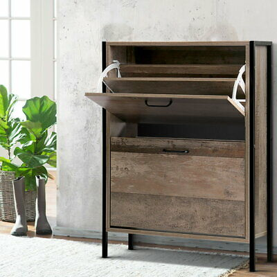 Adjustable Vintage Shoe Cabinet Cupboard 16-Pairs Organizer Storage Shelves Rack