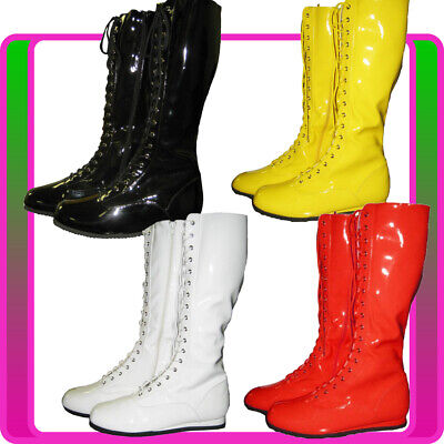 Ladies PRO Wrestling Costume Boots Yellow Black White Red WWF WWE Wrestler Shoes