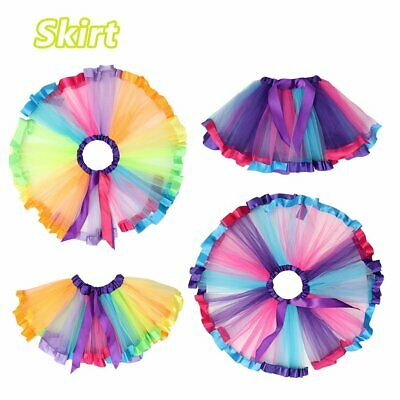 Layered Ballet Rainbow Tutu Skirt Casual Matching Dress Women Girl Adult Kid Y1