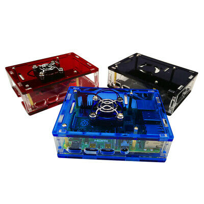 For Raspberry Pi 4 Model B Acrylic Case with Cooling Fan and 3 Pcs Heatsinks