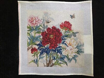 Susan Treglown Hand-painted Needlepoint Canvas Colorful Peonies & Butterfly