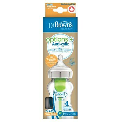 Dr Brown's Options PLUS Glass Baby Bottle Wide Neck  270ml