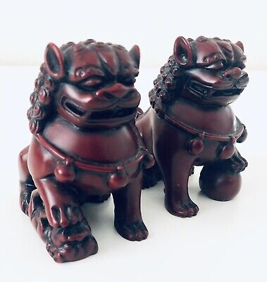 Feng Shui Chinese Foo Fu Dog Guardian Lion Red Resin Figure Chinese China Heavy
