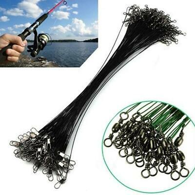 20pcs Fishing Traces Wire Leader Anti-bite Stainless Steel Lures Hook Swivel New