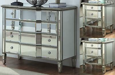 LEONORE 2 x Silver Bedside table & Dresser Chest Package - Mirror Furniture