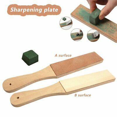 Dual Sided Leather Blade Strop Cutter Razor Sharpener Polishing Wooden Handle #T