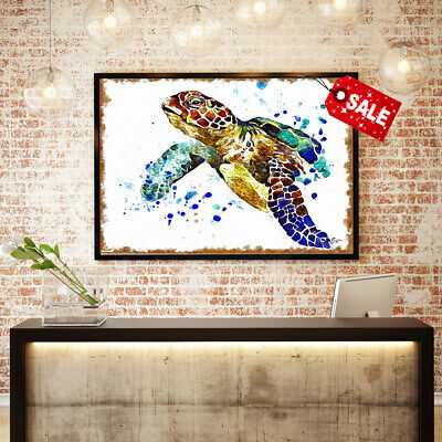 Hd Art Print on Canvas Sea Turtle Watercolor Painting.home Wall Decoration 16x20