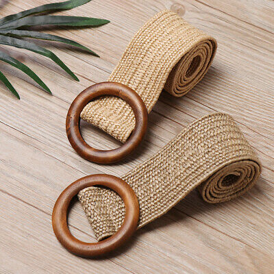 Round Wooden Buckle Dress Belt Casual Female Braided Wide Elastic PP Straw Belt.