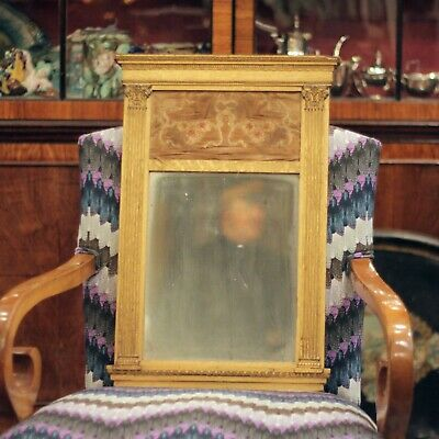 19th Century Empire Style Gilt Wood Mirror with Silk Panel