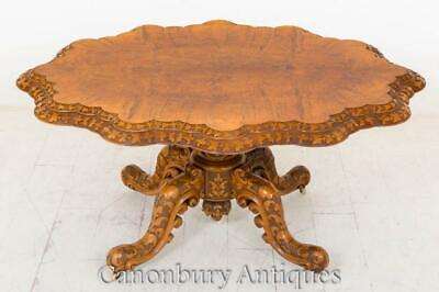 Victorian Walnut Centre Table Dining Quadra Foil Base