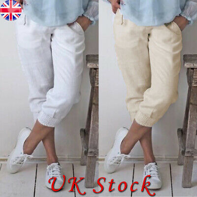 Womens 3/4 Length Stretch Elasticated Waist Trousers Ladies Cutton Cropped Pants