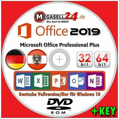 ☝ MS OFFICE 2019 PROFESSIONAL PLUS DVD + KEY Büro Suite Software Paket Microsoft