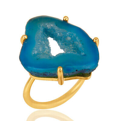 Natural Hole Slice Druzy Women's Fashion Ring 18k Gold Plated Brass Jewelry