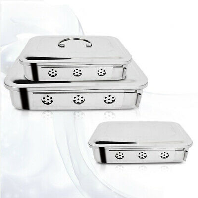 NEW Sterilization Cassette Tray Box Square Plate With Hole Cover Stainless Steel