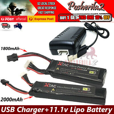 11.1v 1800/2000mAh Lipo Battery USB Charger for Gel Blaster JM Gen8 J8 J9 M4A1