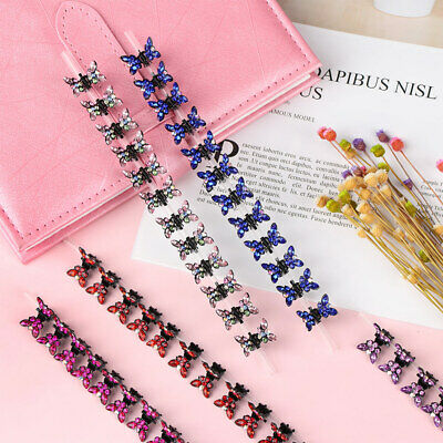 12PCS Rhinestone Butterfly Hair Clip Hair Claw Hairpins Baby Kids Braid Hairgrip