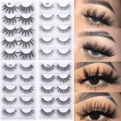 SKONHED 5 Pairs 3D Faux Mink Hair False Eyelashes Fluffy Wispy Long Lashes HQ-