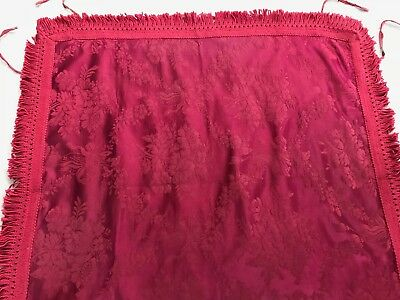 """VINTAGE SATIN DAMASK FRINGED TABLE COVER FOR CARD TABLE 76 cm / 30 """" square"""