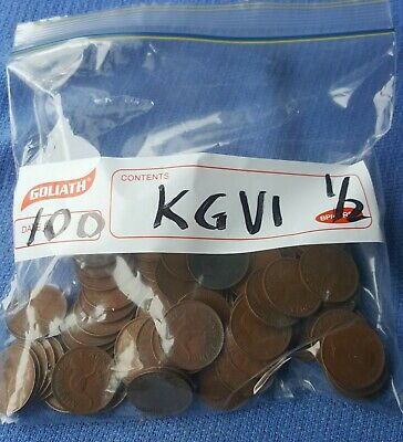 100 X Kg V1  Halfpenny Coins Bulk. See Pictures & Description See Postage Rates