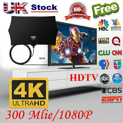 UK 300 Mile Range Antenna TV Digital HD Skywire Antena Digital HDTV 1080p Indoor
