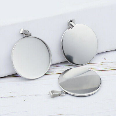 10x Stainless Steel Round Cabochon Base Blank Fit 12-30mm Bezel Tray Diy Pendant