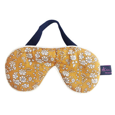 Famous Liberty London Fabric Capel Mustard Print Cotton Padded Eye/Sleep Mask