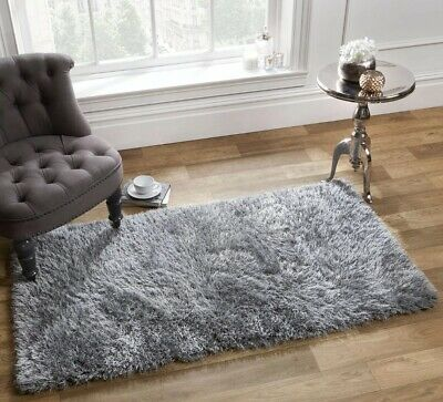 Sienna Shaggy Floor Rug Plain Soft Sparkle Mat Thick Pile Silver Grey 120x170