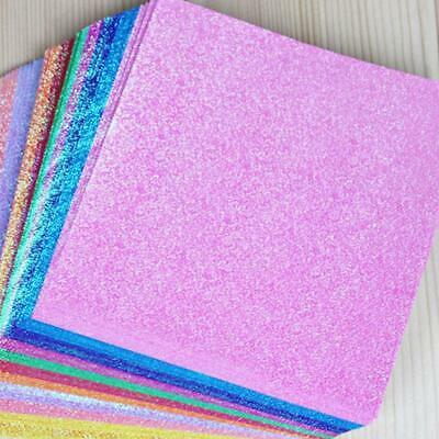 50pcs Square Origami Paper Single Side Glitter Folding Solid Color Papers New