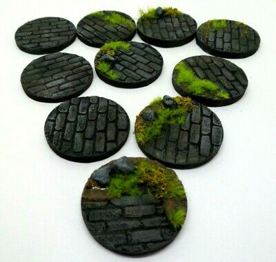 10 x 32mm Brick Road resin bases for warhammer ,roleplaying, minatures