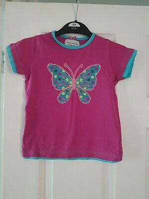 Peter Storm Girls Pink Butterfly applique T Shirt Top Aged 3-4 Years